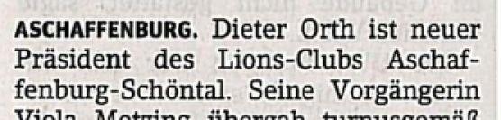 Dieter Orth führt Lions Club