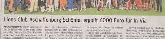 Lions-Club Aschaffenburg Schöntal ergolft 6000,- € für In Via