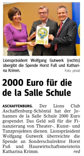 Main-Echo vom 15 12 2012 | Lions Aschaffenburg Schöntal